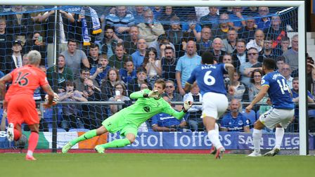 Andros Townsend rifles Everton in front from the penalty spot
