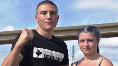 Morgan Hutcheon with his girlfriend Alana Bray who is also a K1 fighter and is preparing for her first fight in November