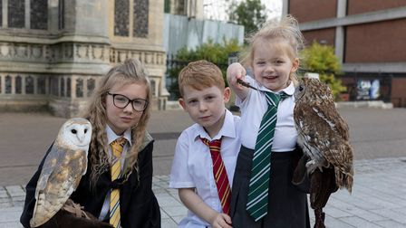 Evie-Grace Forsdick (left) and her friends went on a wizard-themed tour around Norwich with Evie's five owls.