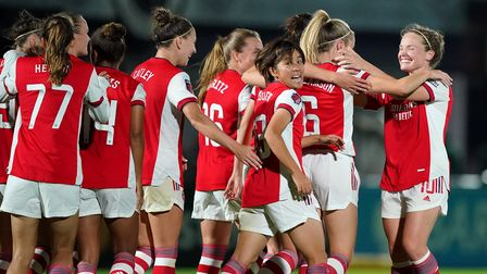 Arsenal's Leah Williamson (second right) celebrates scoring their side's fifth goal of the game with