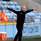 West Ham United manager Olli Harder gestures on the touchline during the Vitality Women's FA Cup fif