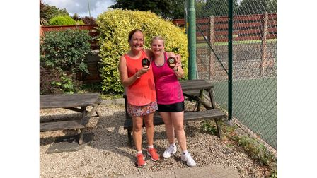 Backwell Tennis Club's over-50 women's doubles winners Dickinson and Barry.