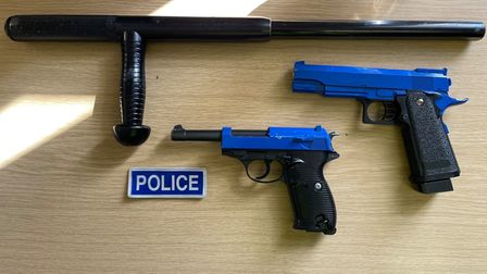 A baton and two BB guns were seized by Cambridgeshire police