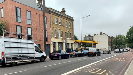Queues for JET petrol station in Lower Clapton on September 25.