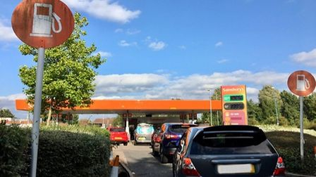 Queues snaked around petrol stations in a bid to get petrol and diesel.