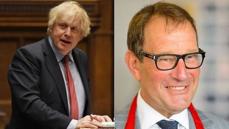 Prime minister Boris Johnson and property developer Richard Desmond (R) who has been at the centre o