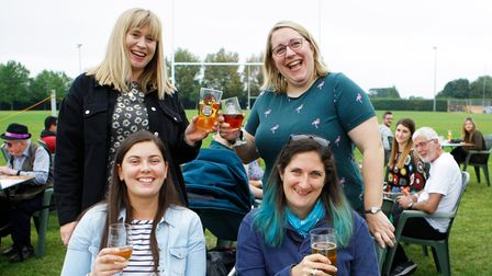 Hitchin Ladies Rugby Team's Sarah Frith, Rebecca Little, Sacha Payne and Holly Watson atCAMRA Beer and Cider Festival