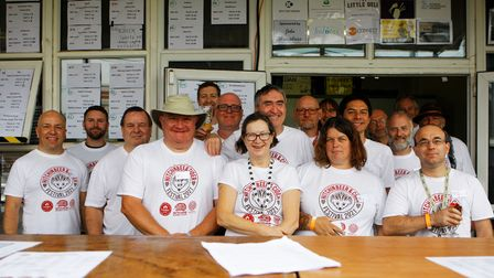 The CAMRA team behind this year's beer and cider festival at Hitchin Rugby Club