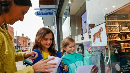 Silvia, eight, and Alicia Clayden, 10, take part in the Animal Safari as part of Bancroft Day in Hit