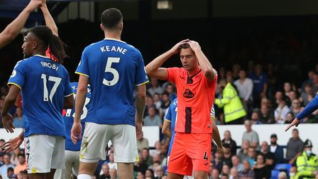 Ben Gibson had a big second half chance for Norwich City at Everton