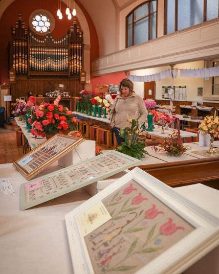 Thaxted Gardening and Craft Show laid out in the United Reformed Church Photo: © Celia Bartlett