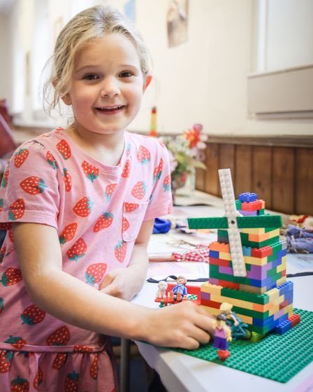 Beatrice Briant who has made Thaxted Windmill out of Lego