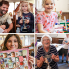 A montage with lots of happy faces at the Thaxted Garden and Craft Show 2021