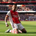 Arsenal's Pierre-Emerick Aubameyang celebrates scoring their side's second goal of the game during t