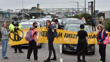 Protesters march to Edmonton Incinerator in protest at plans to build a new bigger incinerator