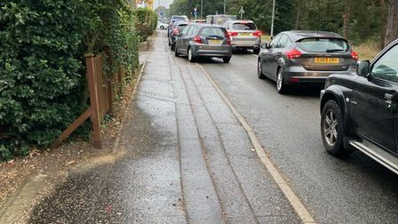 Queues on Plumstead Road East in Thorpe St Andrew on Monday morning.