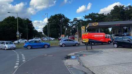 Queues at Jet petrol station in Plumstead Road East, in Thorpe St Andrew, Norfolk.