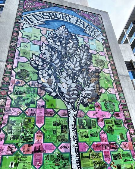 The photo of the Elm Tree of Life mosaic by Carrie Reichardt