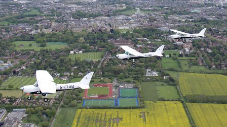 Three Cessna 152s of the Cambridge AeC flying in formation