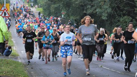 Runners at the start of the 2021 Standalone 10k around Letchworth Garden City.