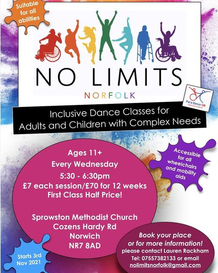 No Limits classes will take place in Sprowston at the Methodist Church.