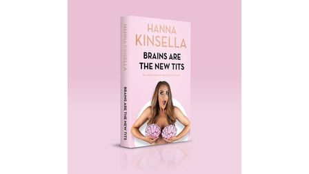 Book cover: Hanna, apparently naked, clutching two large pink brains to cover her breasts