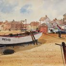 Beached Boats at Aldeburgh by Peter Morgan in Royston Arts Society's autumn exhibition
