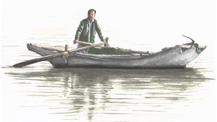 Shuyang Boatman by Andrew Ludlow in Royston Arts Society's autumn exhibition