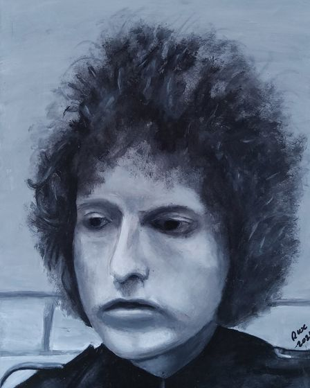 Young Bob Dylan by Richard Clayton in Royston Arts Society's autumn exhibition