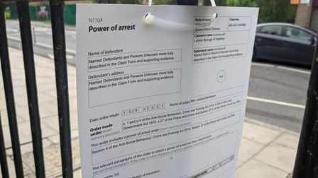 Court papers preventing anti- vaccination camp in Hackney.