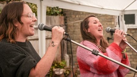 A singing duo - Sally and Mandy, or SAND - perform on stage at The Railway Arms, Saffron Walden