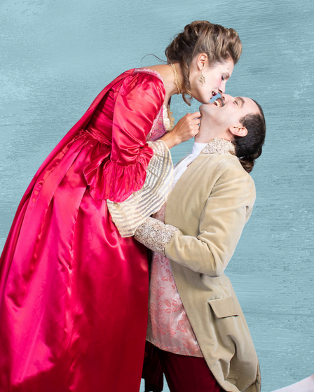Emma Wright andGuido Garcia Lueches in Les Liaisons Dangereuses at theMaltings Theatre.