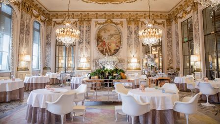 Fabulous restaurant with gold and white, huge chandeliers very French