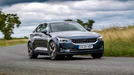 Polestar 2 front on driving on a road