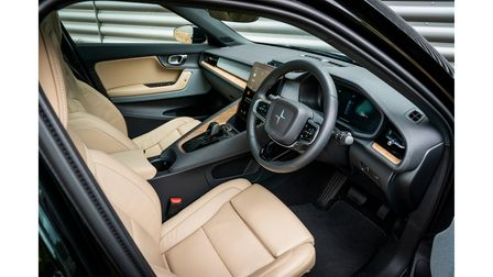 Interior of Polestar 2 with leather seats in cream and black