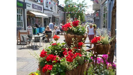 Shopping precinct with flowers