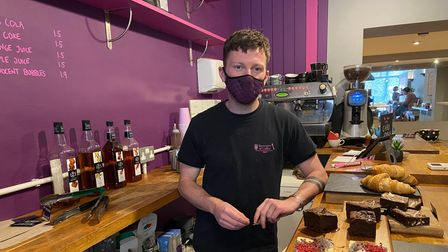 Jonathan Lummis, owner of Brownies and Coffee on Guildhall Hill in Norwich