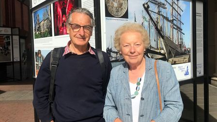 Stuart and Pat Grimwade, who have produced the Celebrating Maritime Ipswich exhibition on the Cornhill