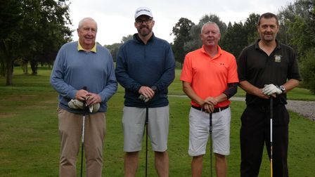 Seamus O'Donnell, Ben Corless, Jeff Ball and Andy Cundy at Ilford Golf Club finals day