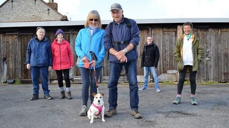 Mike and Jane Holmes, of Sheringham Strollers, with their rambling mascot Sally.
