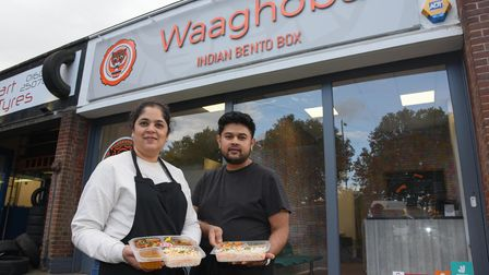 Maithily and Swapnil Pradhan, co-owners of Waaghoba Indian takeaway in Colman Road, Norwich.