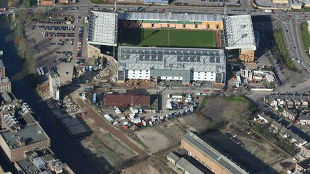 Picture Shows: Aerial Image from Mike Page of Norwich City's ground at Carrow Road, Norwich. The pic