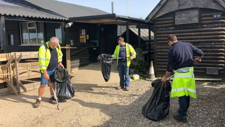 UK Power Networks treecutters collecting litter Southwold