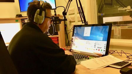 One of the founder members of Hospital Radio Ipswich, Paul Brown, on air
