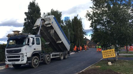 Roadworks being carried out on South Park Avenue in Eaton
