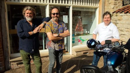 The Hairy Bikers stand outside Florian's macaron shop