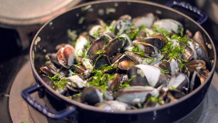 A huge bowl of Moules Mariniere