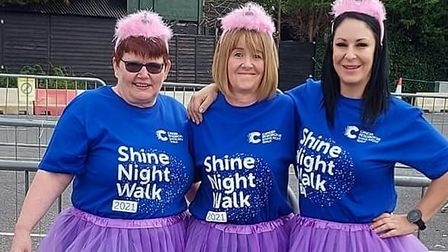 Lizzie Driver, Susan Smith and Sally Archer, from Rheloa in St Ives, at the walk.