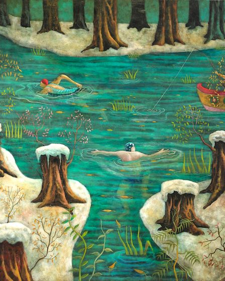 Winter bath oil and mixed media on board