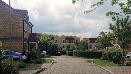 A computer generated image of the proposed London Road development as viewed from Orient Close, St Albans.